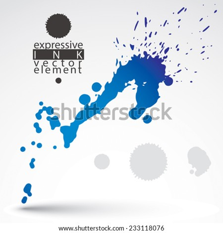 Bright artistic abstract dirty ink template, scanned and traced splashing decorative element. Rough grungy background. - stock vector