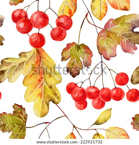 Bright autumn seamless pattern with gold leaves and berries of viburnum. Vector illustration