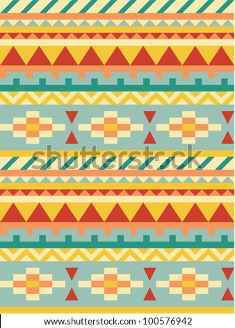 Bright aztec pattern - stock vector