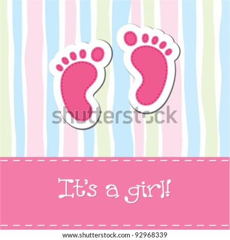 Bright baby girl arrival card shower invitation - stock vector