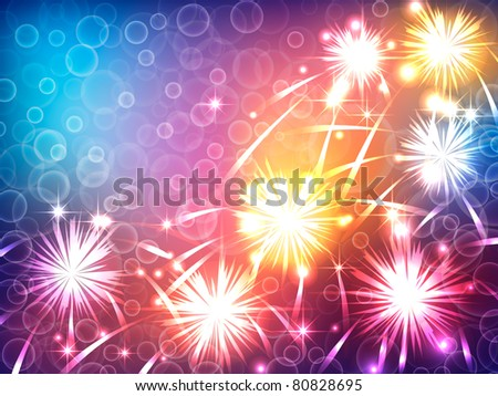 bright background with a festive fireworks EPS10 - stock vector