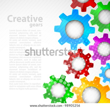 Bright background with color gears and circle - stock vector
