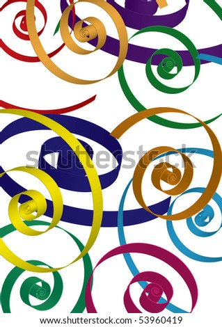 Bright background with curls, vector illustraton - stock vector