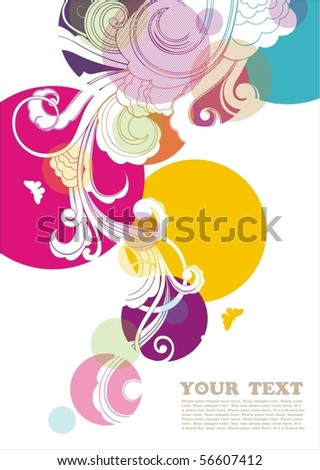 Bright background with floral ornament and free space for text.
