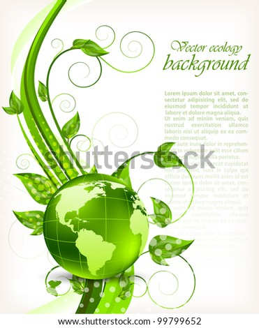 Bright background with green leaves and globe - stock vector