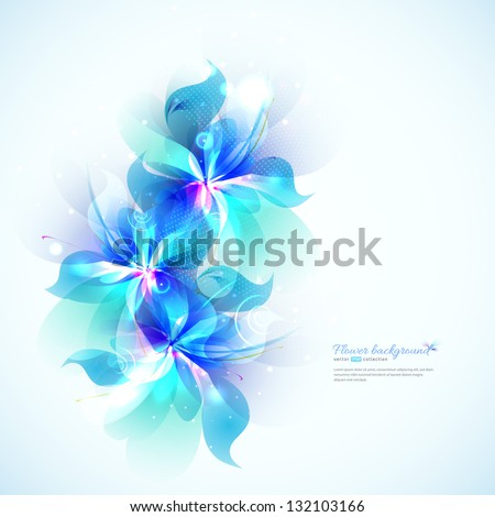 Bright background with light blue abstract flowers. Floral card - stock vector