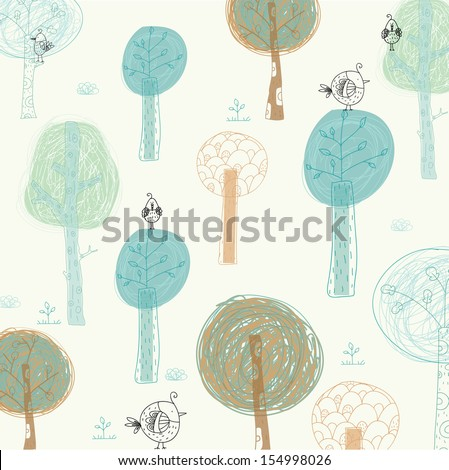 Bright background with the birds and trees. Cartoon summer wallpaper.Seamless pattern can be used for wallpapers, pattern fills, web page backgrounds, surface textures.Children room design. playroom - stock vector