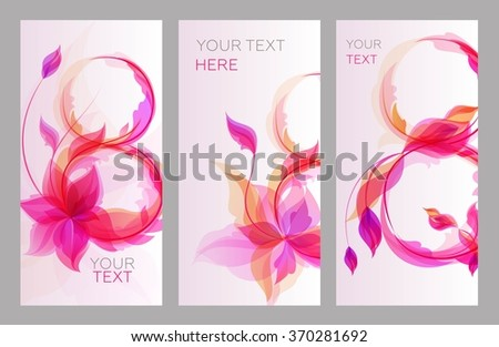 Bright banner 8 of flowers, beautiful greeting cards in the Women's Day celebration. Template cards for design. Vector illustration - stock vector