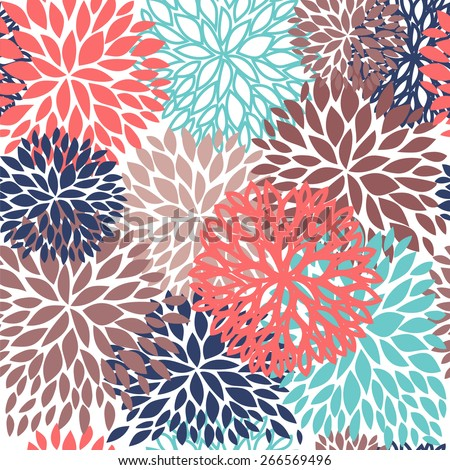 Bright beige and blue Floral seamless pattern. Vector illustration for wallpapers, textile, web  and other design - stock vector