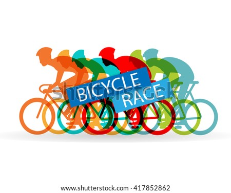 Bright bicycle race sign with group of cyclists, vector illustration - stock vector