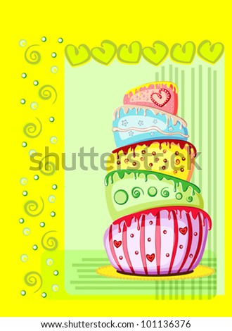 Bright birthday cake. Postcard with place for your text. Vector eps10 illustration. Raster file included in portfolio - stock vector