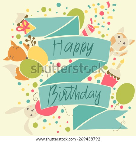 Bright birthday card with a fox, rabbit and kitten - stock vector