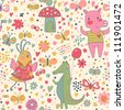 Bright birthday seamless pattern of funny animals. Crocodile, pig and cute bird with butterflies. Seamless pattern can be used for wallpaper, pattern fills, web page background, postcards. - stock vector