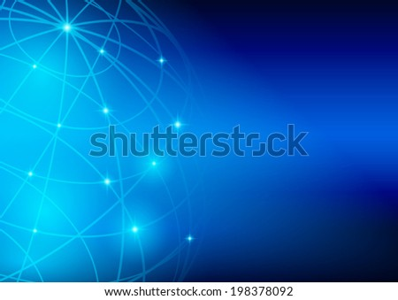bright blue background - meridians and parallels of planet - vector. Eps10  in  RGB. - stock vector