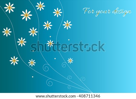 Bright blue background with flowers chamomiles. Vector background for text
