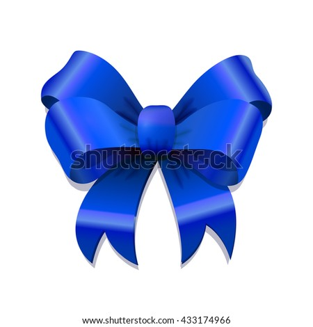 Bright blue bow-knot with shadow isolated on white