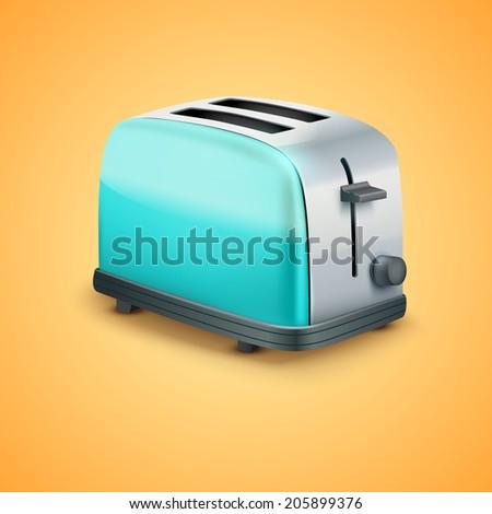 Bright blue Metal Glossy Toaster. Vector illustration - stock vector
