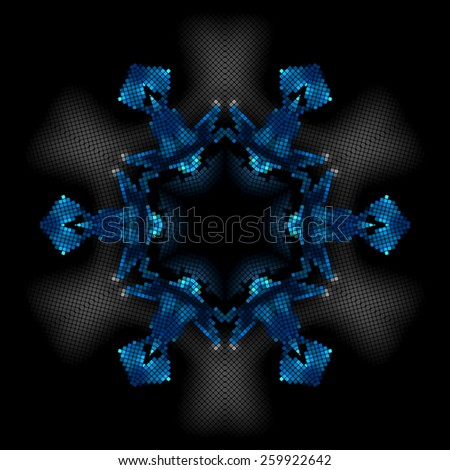 bright blue star on a black background club party square mosaic tiles pixel vector - stock vector