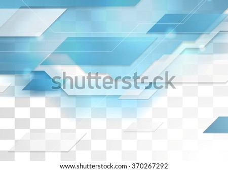 Bright blue tech corporate transparent illustration. Vector background for print flyers, brochure, web graphic design - stock vector
