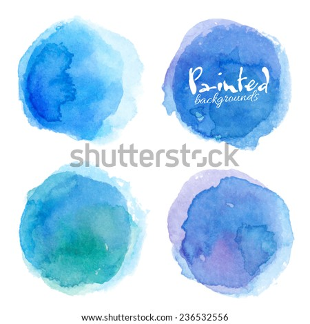Bright blue watercolor painted vector stains set - stock vector