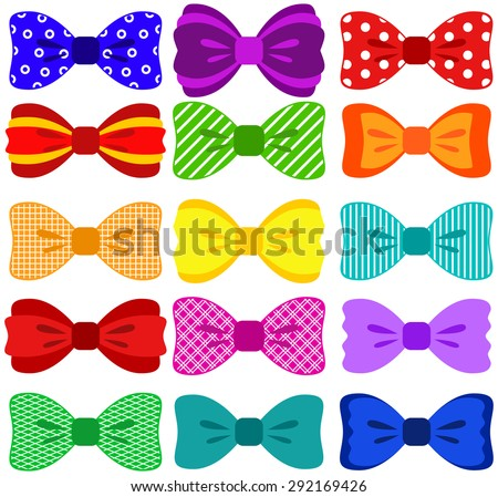 Bright bow set (elements not merged together, patterns easily removed in vector programs)  - stock vector