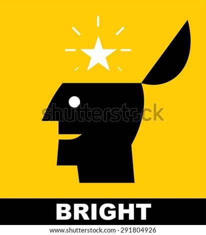 Bright. Bright star. Rising star. Genius. Simple flat icon of a bright person, suitable for poster, brochure, slogan for education and school . - stock vector