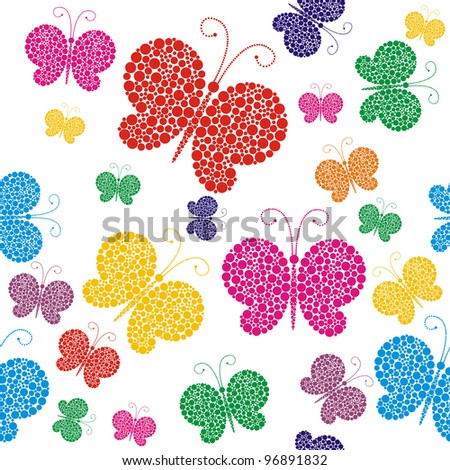 bright butterflies on a white background, seamless - stock vector
