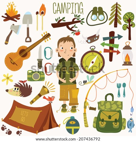 Bright camping equipment icon set in vector. - stock vector