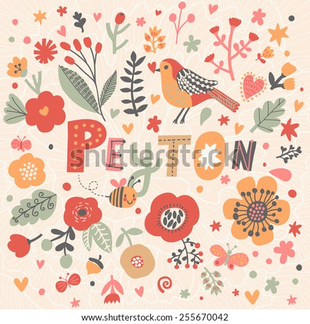 Bright card with beautiful name Peyton in poppy flowers, bees and butterflies. Awesome female name design in bright colors. Tremendous vector background for fabulous designs - stock vector
