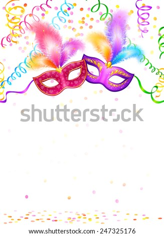 Bright carnival masks with confetti and serpentine on white background, vector party poster template - stock vector
