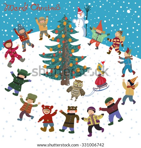 Bright cartoon Christmas, New Year Card in vector. Funny and smiling girls and boys dancing around the Christmas tree. Winter holiday background with owl, cute snowman and gifts in a bag on a sled - stock vector