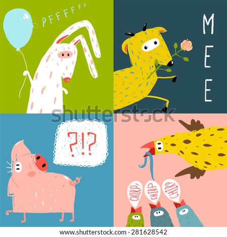 Bright Cartoon Farm Animals Square Greeting Cards. Amusing vivid baby animals illustrations for kids. Vector EPS10. - stock vector