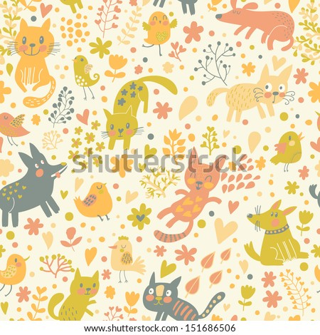 Bright childish seamless pattern with birds, cats and funny dogs in vector. Seamless pattern can be used for wallpapers, pattern fills, web backgrounds,surface textures. Gorgeous childish wallpaper - stock vector