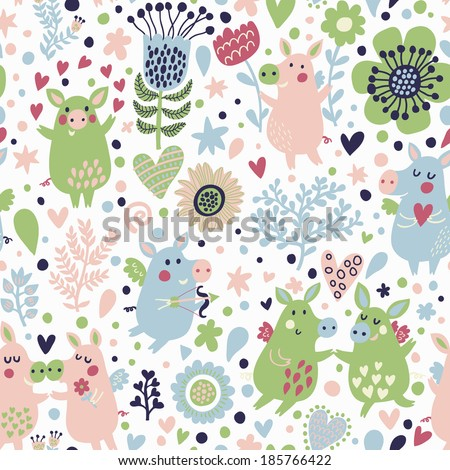 Bright childish seamless pattern with cute piglets in hearts and flowers. Valentines day romantic concept card in vector. Seamless pattern can be used for wallpapers, pattern fills. - stock vector