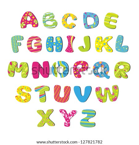 Bright children's alphabet - stock vector