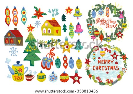 Bright Christmas and New years vector set.  - stock vector