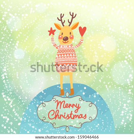 Bright Christmas card with cute Deer in vector. Bright holiday background with bokeh effect. Funny deer under snowfall - stock vector