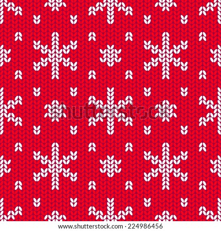 Bright Christmas knitted seamless pattern with white snowflakes on a red background - stock vector