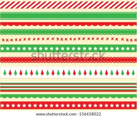 Bright Christmas Ribbon Vector - stock vector