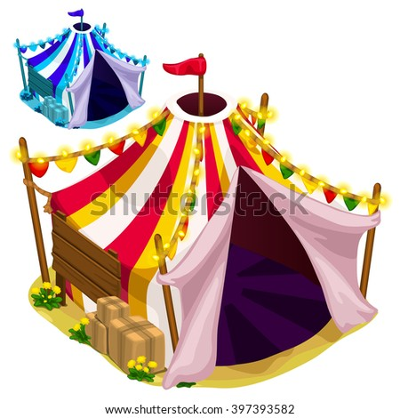 Bright circus tent. Vector illustration. - stock vector