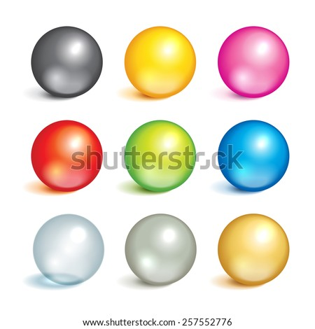 Bright collection of colorful balls of different colors and material, metal, glass, silver, gold. - stock vector