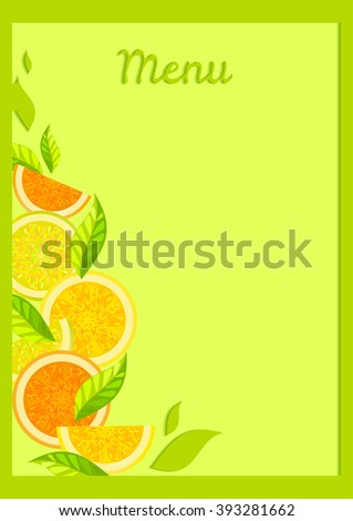 Bright color menu template for a coffee shop, restaurants with the image of fruit, citrus, oranges, lemons, grapefruit. - stock vector