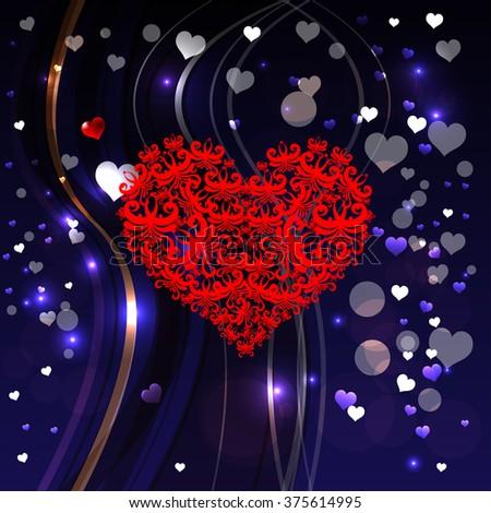 Bright Color Vector Graphic Illustration Valentine Stock Vector