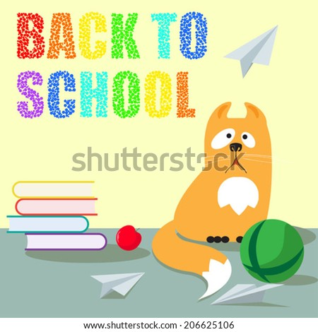 bright colored back to school cartoon vector background with funny cute cat for use in design - stock vector