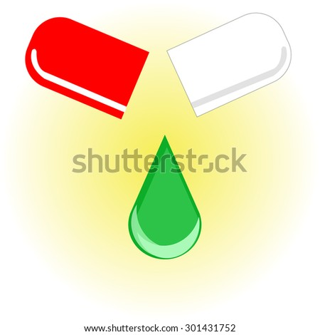 bright colored capsules in the same package - stock vector