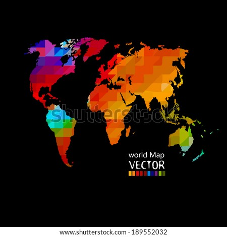 bright colored map of the world on a black background. Vector  - stock vector