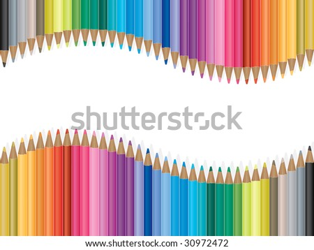 Bright colored pencils, grouped and easy to edit. - stock vector