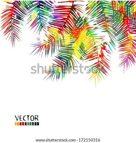 bright colored watercolor palm. Vector - stock vector
