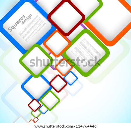 Bright colorful background with squares - stock vector