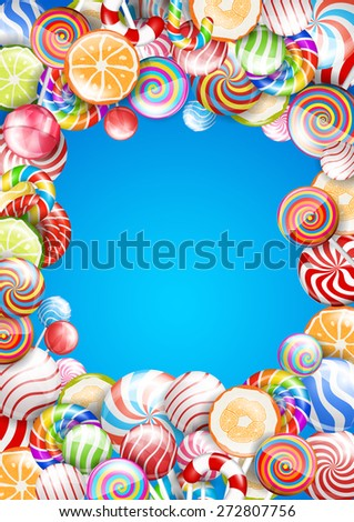Bright colorful blue frame with candies, sweets and lollipops . Vector background - stock vector